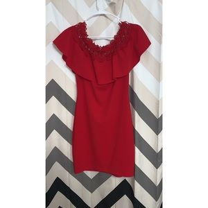 BCX red off the shoulder tight dress